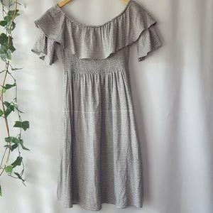 Oddy off-shoulder striped rayon/linen blend dress